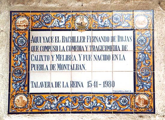 Placa conmemorativa de Fernando de Rojas