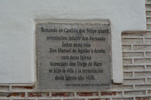 Iglesia parroquial de Nuestra Señora de la Asunción, placa