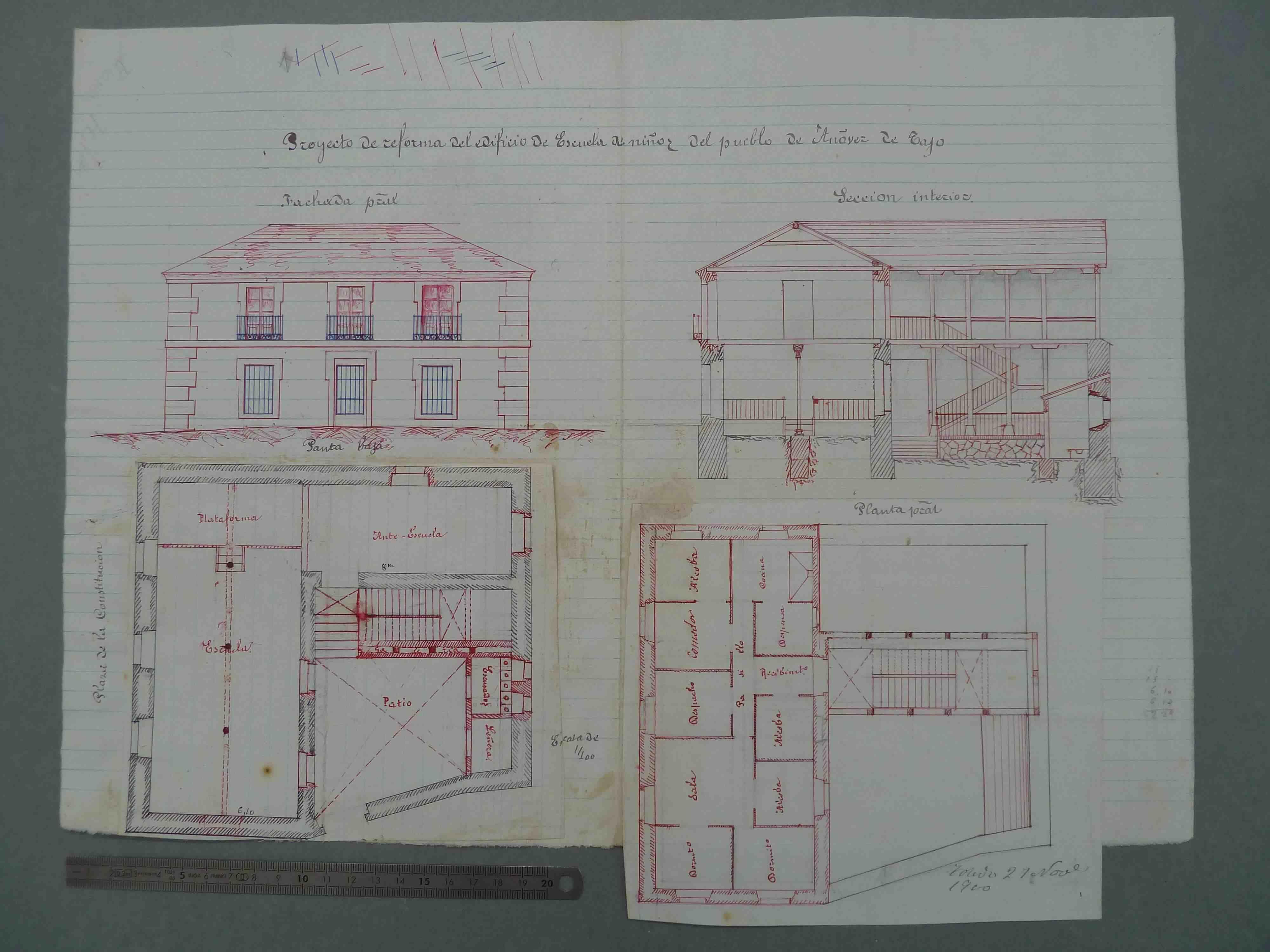 Añover de Tajo. Plano edificio escuelas públicas, 1900