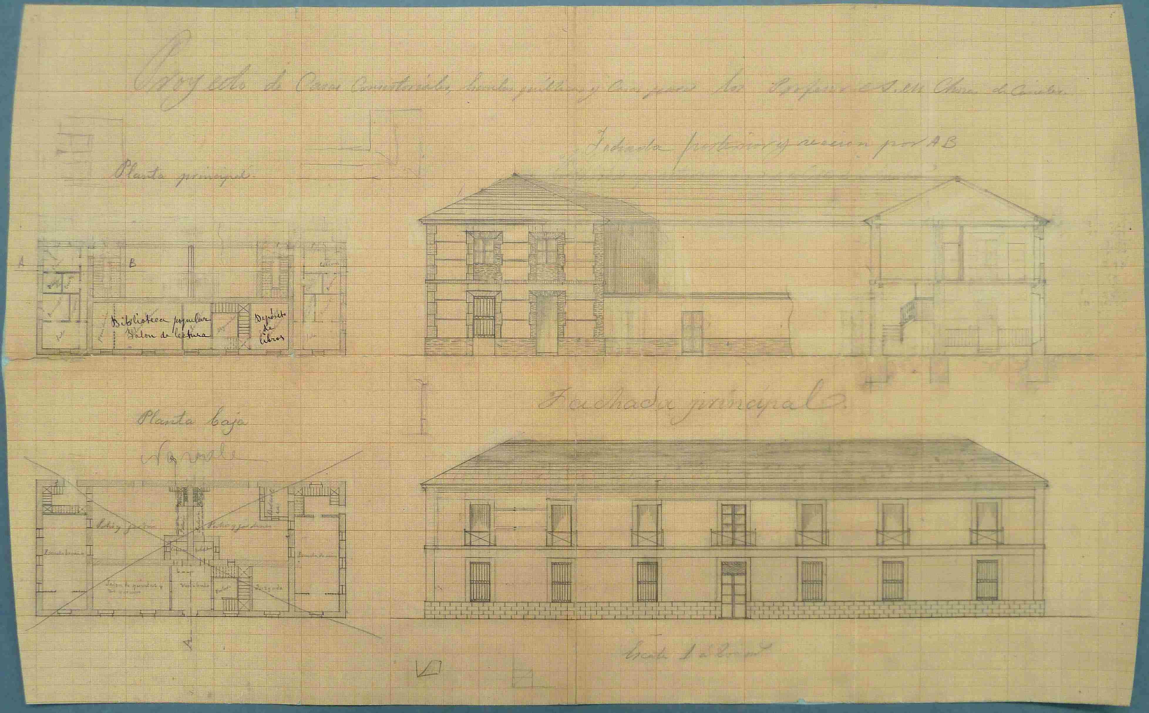 Chozas de Canales. Plano edificio polivalente, 1901