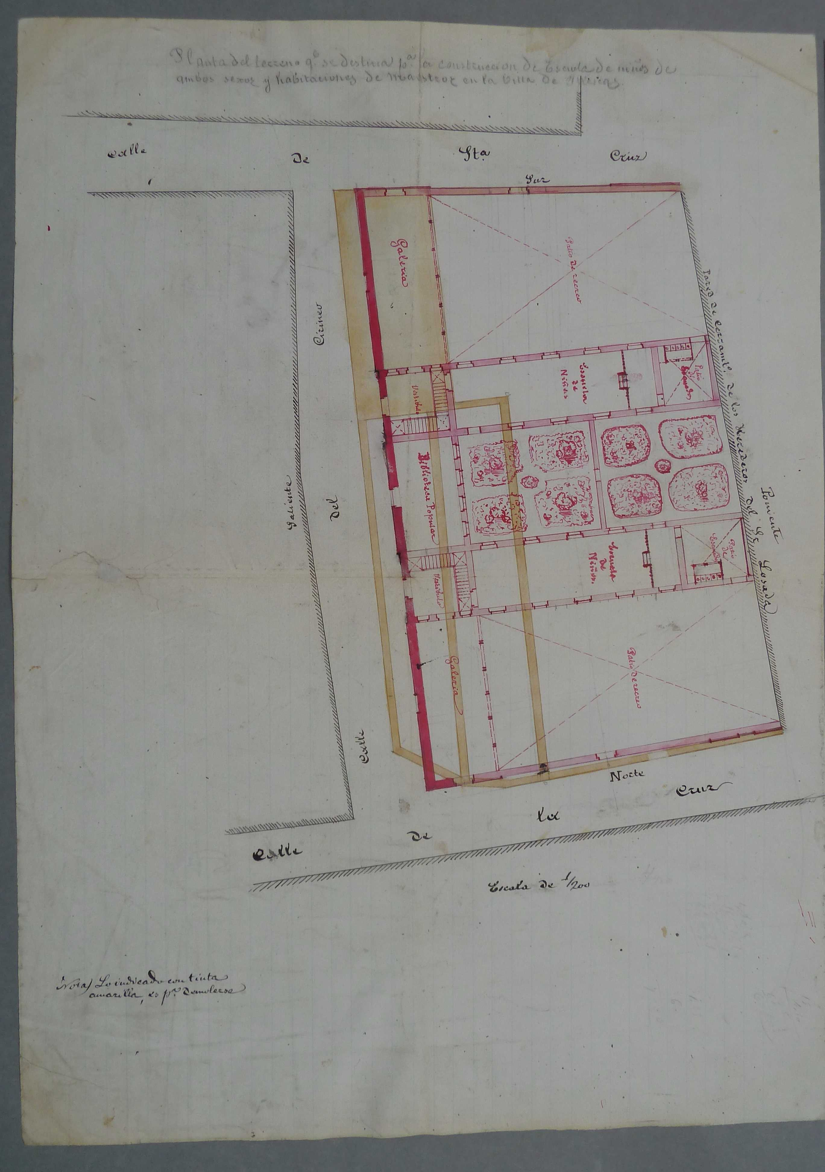 Illescas. Plano planta baja edificio escuelas públicas, 1885