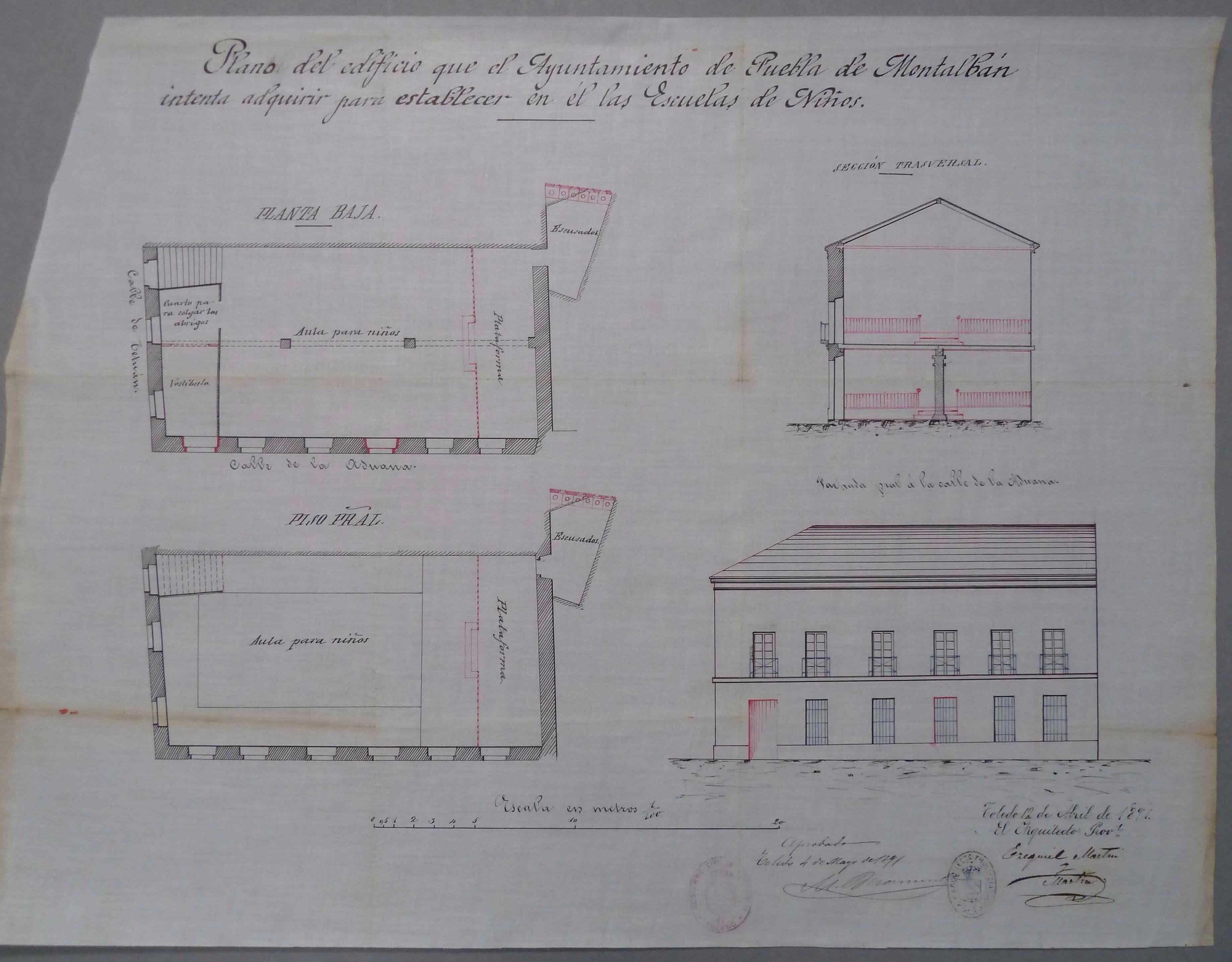 La Puebla de Montalbán. Plano reforma edificio escuelas,1891