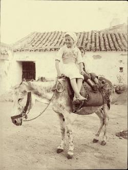 t.-Niños montando en burro en los alrededores de la ciudad
