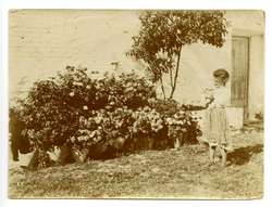 w.-Retrato de una niña jugando con un gato