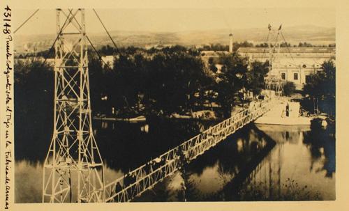 43148- Puente colgante sobre el Tajo en la Fábrica de Armas