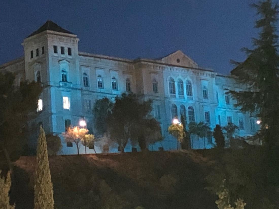 Diputación iluminada de azul