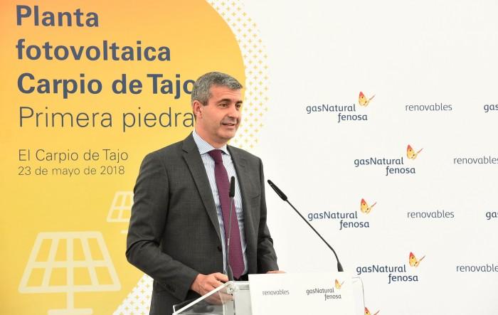 Álvaro Gutiérrez en su intervención en la colocación de la primera piedra de la planta fotovoltaica