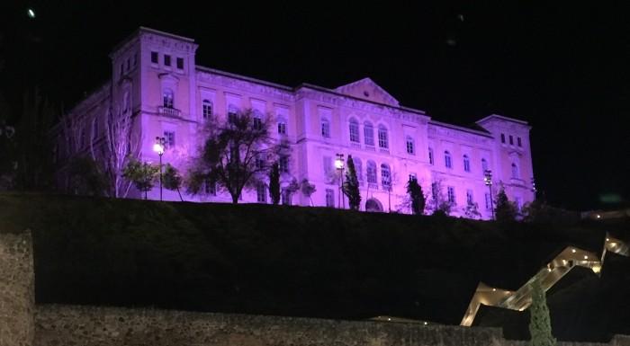 Foto de archivo de la Diputación iluminada de morado por el 25 de noviembre