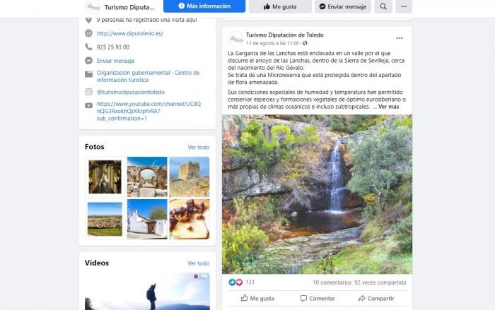 Captura página Facebook Turismo Diputación