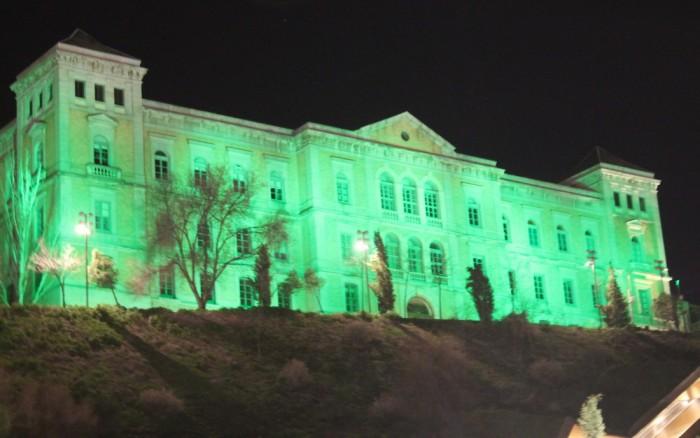 Fachada Diputación en verde por la ELA (archivo)