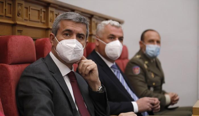 Álvaro Gutiérrez en un momento del acto institucional (foto Cortes de Castilla-La Mancha)