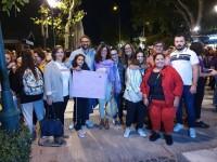 Ana Gómez en la marcha feminista de esta noche en Toledo