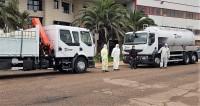 Camiones de Talauto con los que las brigadas de la Diputación realizaran labores de desinfección